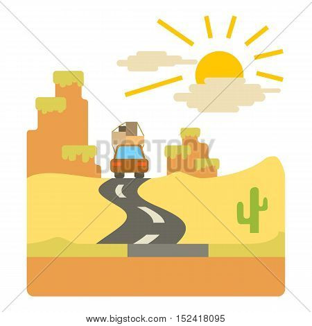 Travel by car in desert concept. Flat illustration of travel by car in desert vector concept for web