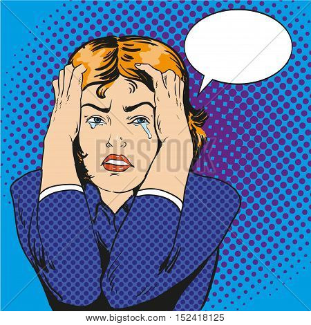 Woman in stress and crying. Vector illustration in comic retro pop art style.