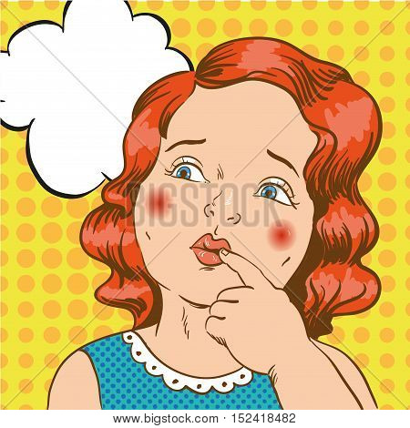 Little girl thinking about something. Vector illustration in comic retro pop art style.
