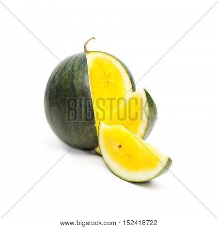 Yellow watermelon on white background. Unusual food