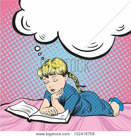 Little girl reading book on a bed. Vector illustration in comic pop art style. Girl dreaming about something reading tale.
