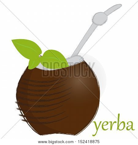 vector illustration of calabash to yerba mate