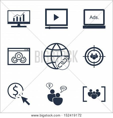 Set Of Marketing Icons On Focus Group, Video Player And Digital Media Topics. Editable Vector Illust