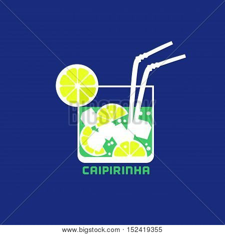 Drinks concept. Popular Brazil cocktail Caipirinha  Flat design icon. Glass with ice, sugar and lime slice. Template for logo. Element for club event banner background. Vector illustration