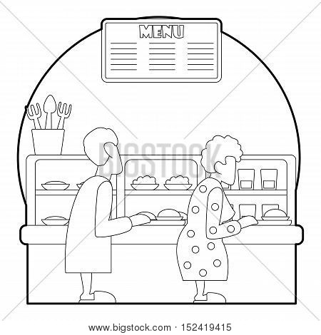Queue in canteen for food concept. Outline illustration of queue in canteen for food vector concept for web