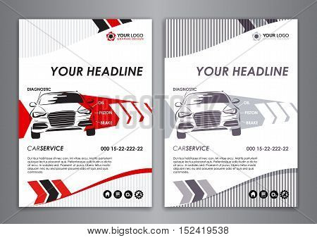 A5, A4 service car business card template. Auto repair Brochure templates identity illustration abstract arrow Modern Backgrounds. Vector illustration.