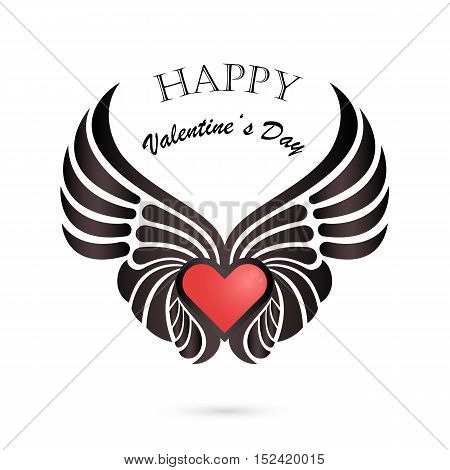 Valentine day heart with angel wings on background.Happy Valentines day lettering card.Happy holiday concept.Vector illustration.