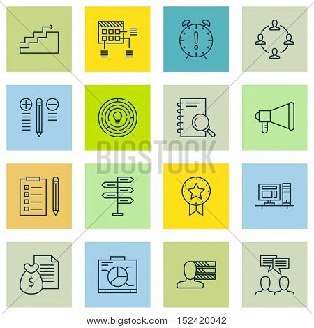 Set Of Project Management Icons On Collaboration, Innovation And Decision Making Topics. Editable Ve