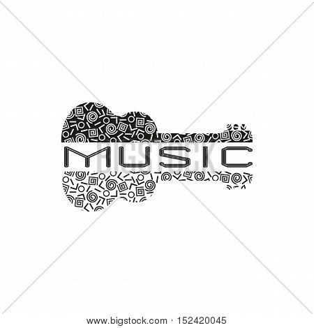 Template Design Poster with doodle acoustic guitar silhouette. Vintage music icon. Black white musical instrument logo in Swiss international style. Modern Memphis pattern. Vector illustration