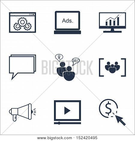 Set Of Marketing Icons On Conference, Media Campaign And Website Performance Topics. Editable Vector