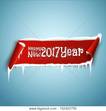 Happy New 2017 Year celebration background with red realistic curved ribbon banner, icicles and snow. Vector illustration