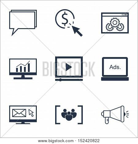 Set Of Advertising Icons On Questionnaire, Ppc And Media Campaign Topics. Editable Vector Illustrati