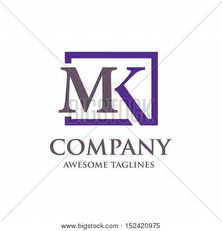 Letter MK logo set, strong elegant classy concept. creative letter MK template logo set