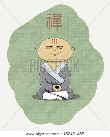 meditating Buddhist monk with Zen kanji over his head. Every elements of illustration located on separate layer, so you can easily remove texture of image or do other editing. Vector