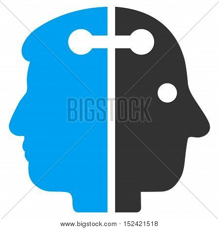 Dual Head Connection vector pictogram. Style is flat graphic bicolor symbol, blue and gray colors, white background.