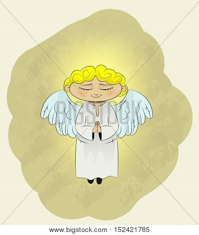 Cute cartoon angel prays. Vector llustration. Easy to edit