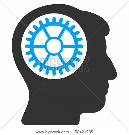Head Cogwheel vector pictograph. Style is flat graphic bicolor symbol, blue and gray colors, white background.