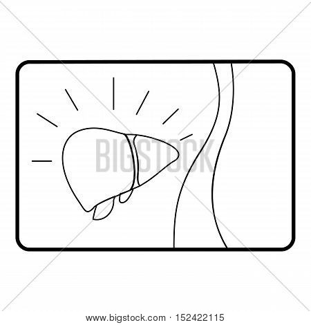Medical card of liver icon. Outline illustration of medical card of liver vector icon for web