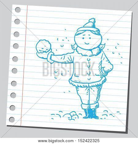 Girl holding snowball
