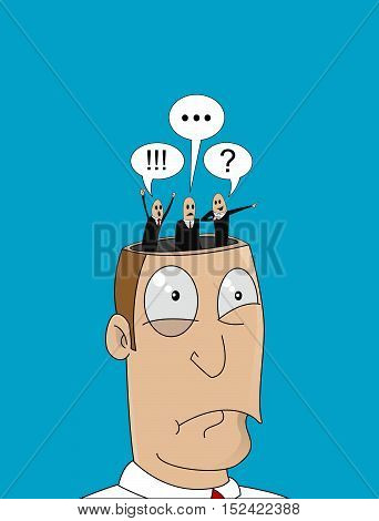 Cartoon man with with different thoughts in his head. Decision concept, doubt, uncertainty, stress. Vector design illustration