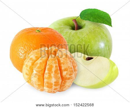 apple with leaf and tangerine fruits peeled segments isolated on white background with clipping path