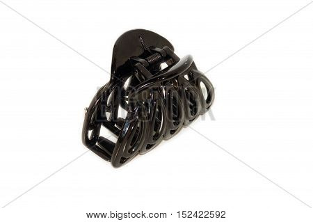 Black hair clip isolated on a white background