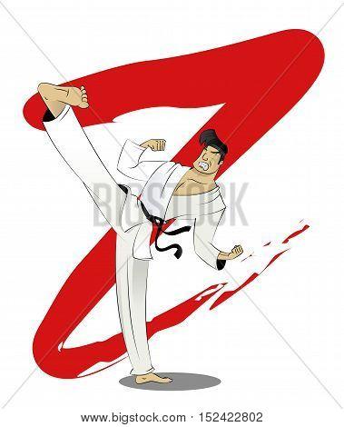 Vector cartoon karate fighter kicks. Martial arts training concept illustration