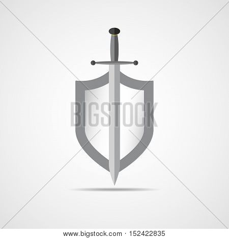 Shield and sword in flat design. Shield and sword icon isolated. Vector illustration.