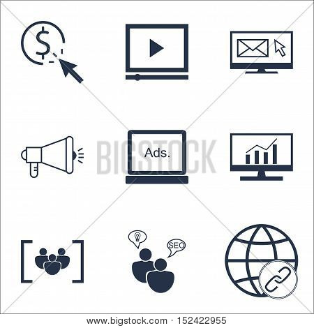 Set Of Seo Icons On Market Research, Connectivity And Ppc Topics. Editable Vector Illustration. Incl