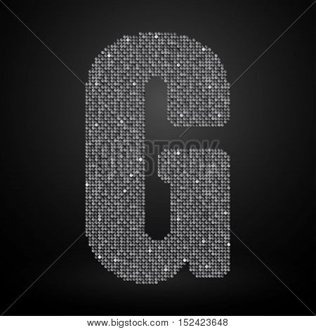 Letters, numbers and symbols in the form of silver sequins.