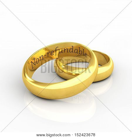 Golden wedding rings on white background engraved Non refundable , Wedding , 3d illustration