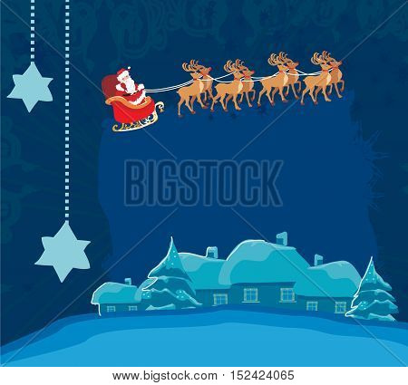 Winter Christmas card with Santa Claus and winter landscape , vector illustration
