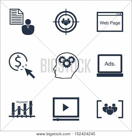 Set Of Seo Icons On Questionnaire, Website And Video Player Topics. Editable Vector Illustration. In