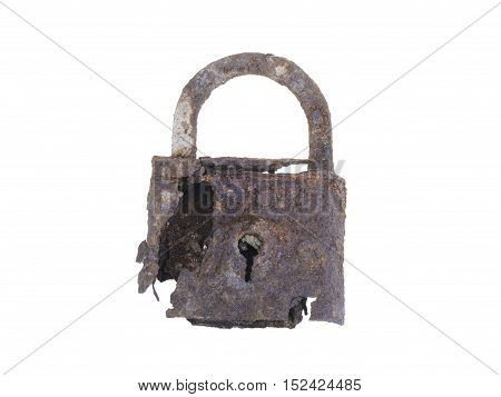 ancient rusty padlock isolated on white background