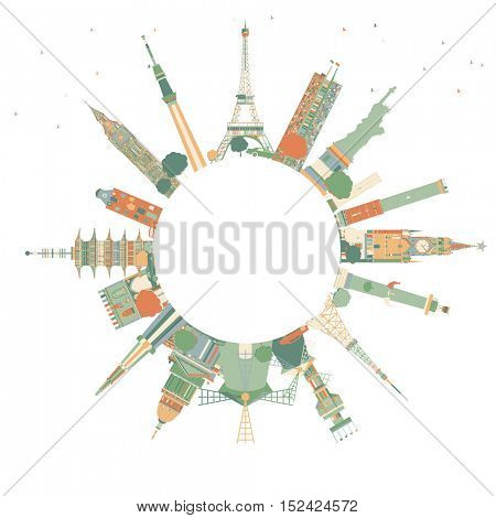 Abstract Travel Concept Around the World with Famous International Landmarks. Vector Illustration. Business and Tourism Concept with Copy Space. Image for Presentation, Placard, Banner or Web Site.