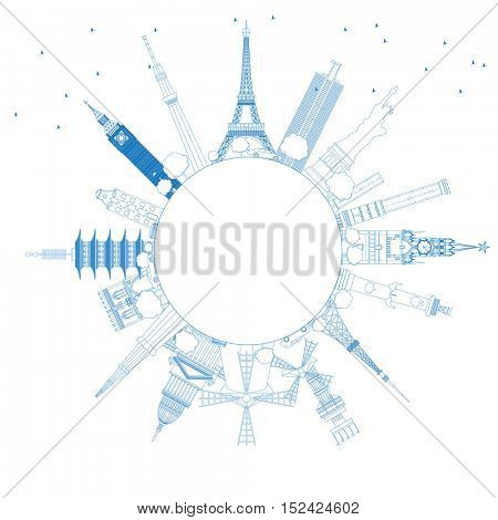 Outline Travel Concept Around the World with Famous International Landmarks. Vector Illustration. Business and Tourism Concept with Copy Space. Image for Presentation, Placard, Banner or Web Site.