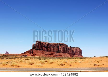View of Southwest canyon, USA. Gigantic rock wall in Arizona.
