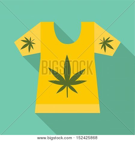 T-shirt with print of cannabis icon. Flat illustration of t-shirt with print of cannabis vector icon for web