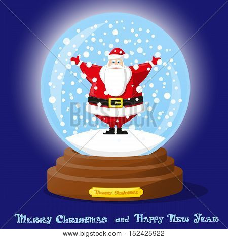 Cute glass Snow Globe with snowflakes and funny Santa Claus. Merry Christmas and Happy New Year souvenir. Cartoon style. Concept design poster banner flyer or greeting card. Vector illustration