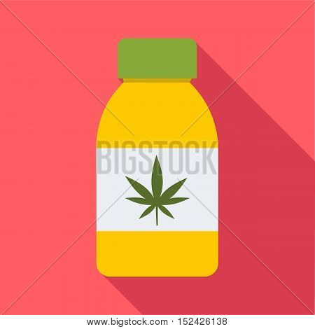 Jar of powder marijuana icon. Flat illustration of jar of powder marijuana vector icon for web