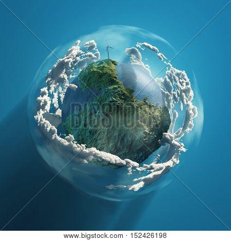wind turbine on green planet, 3d illustration