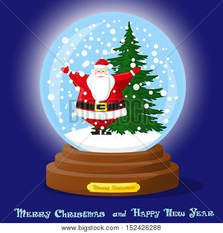 Cute glass Snow Globe. Snowflakes christmas tree and funny Santa Claus. Merry Christmas and Happy New Year souvenir. Cartoon style. Concept poster banner flyer greeting card. Vector illustration