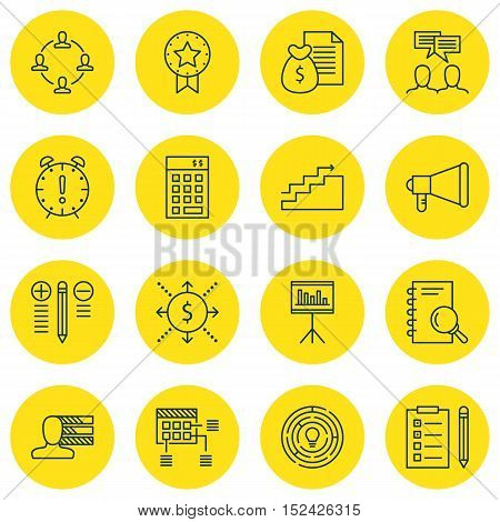 Set Of Project Management Icons On Personal Skills, Decision Making And Present Badge Topics. Editab