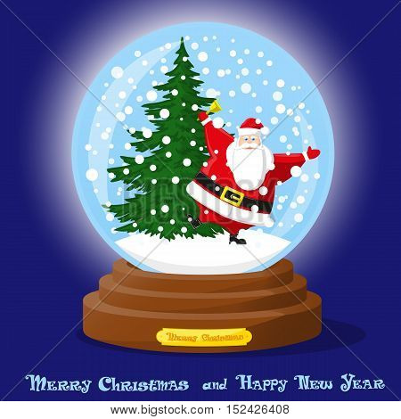 Cute glass Snow Globe. Snowflakes christmas trees and dancing funny Santa Claus. Merry Christmas and Happy New Year souvenir. Cartoon style. Concept poster banner flyer greeting card. Vector