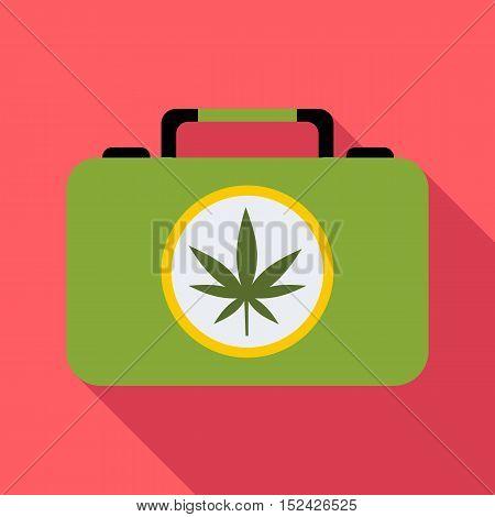 Suitcase with marijuana icon. Flat illustration of suitcase with marijuana vector icon for web