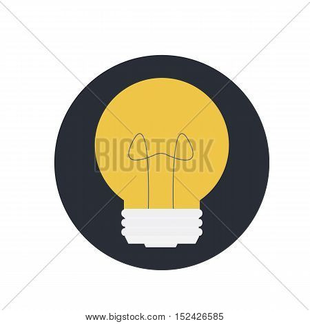 Abstract Vector Flat Design Lightbulb With Sparkle On Violet Backround, Lamp