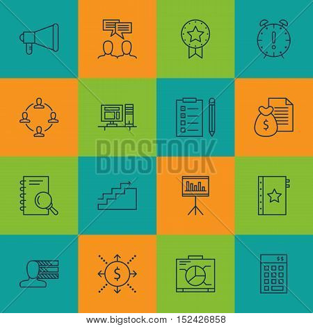 Set Of Project Management Icons On Board, Presentation And Time Management Topics. Editable Vector I