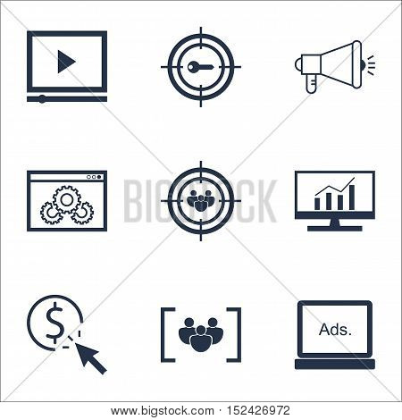 Set Of Advertising Icons On Ppc, Website Performance And Focus Group Topics. Editable Vector Illustr