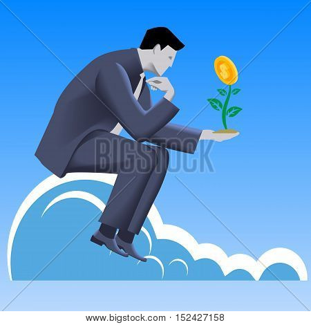 Growing profit business concept. Pensive businessman in business suit looks on growing plant with golden coin instead of flower in his hand. Vector illustration. Use as template logo background.