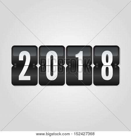 Happy New Year 2018 scoreboard congratulation flip symbol on grey gradient background